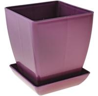 """Горшок для цветов 11х11 см """"Квадрат"""", с поддоном, цвет фиолетовый"""